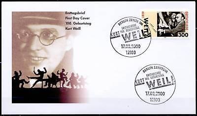 BRD 2000: Kurt Weill! FDC der Nr. 2100! Ersttags-Sonderstempel von Berlin! 1608