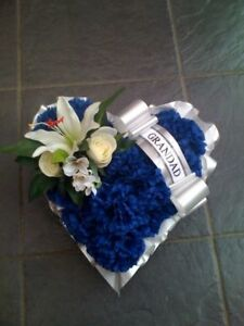 ARTIFICIAL SILK FUNERAL FLOWERS HEART WREATH GRAVE TRIBUTE