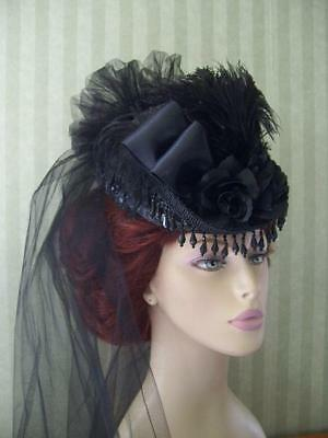 Black Victorian Mini Riding Hat~Steampunk Style Hat~Civil War Hat~SASS Hat