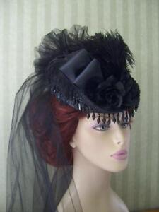 Black-Victorian-Mini-Riding-Hat-Steampunk-Style-Hat-Civil-War-Hat-Derby-Hat