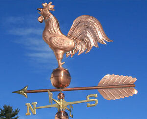 HUGE-COPPER-ROOSTER-WEATHERVANE-MADE-IN-USA-370