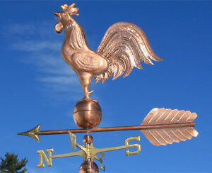 HUGE-COPPER-034-ROOSTER-034-WEATHERVANE-MADE-IN-USA-370