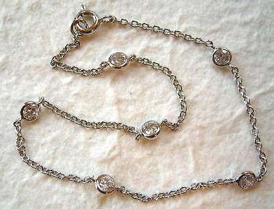 """Sterling Silver and CZ Cubic Zirconia by the Yard Anklet 9"""""""
