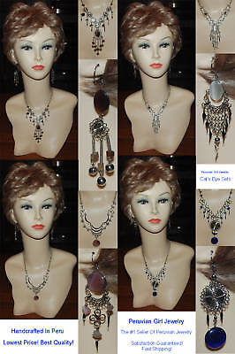 30 CATS EYE BEAD SETS NECKLACES EARRINGS JEWELRY PERU