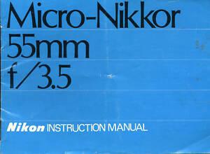 Nikon-Micro-Nikkor-55mm-f-3-5-Orginal-Instruction-Man