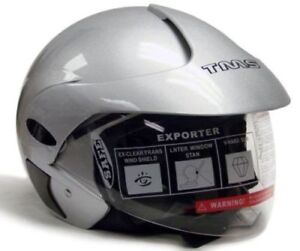 DOT-SILVER-3-4-OPEN-FACE-SCOOTER-MOTORCYCLE-HELMET-L