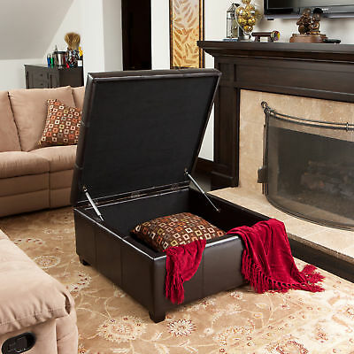 Tufted Espresso Brown Leather Storage Ottoman Coffee ...