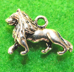 10 Antique Silver 3D LION Charms Pendants Tibetan Jewelry Findings AN13
