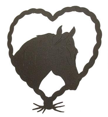 Horse In Heart Black Metal Wall Decor