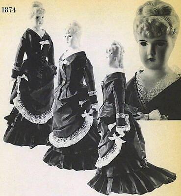 "Vtg 1874 14-15"" China Head Dolls Bustle Dress Pattern"