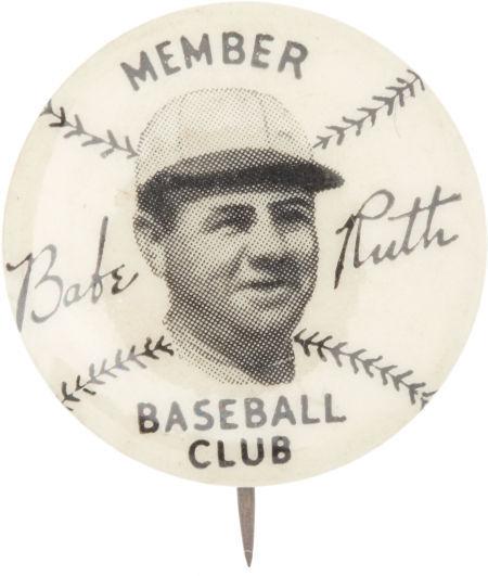 "1934 Babe Ruth ""Quaker Oats"" Membership Pinback Button"