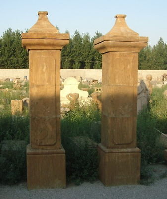 Marble Estate Entry Columns Pair Carved From Solid Block Classic Carvings