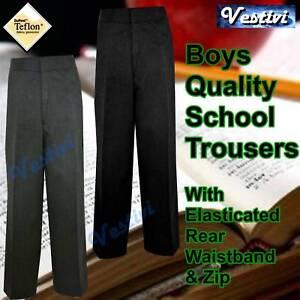 Boys-Zip-Up-Elasticated-School-Uniform-Trousers-New