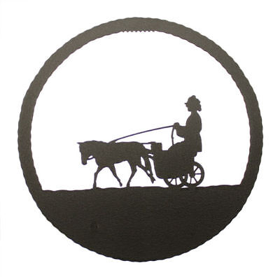 Miniature Driving Horse Black Metal Round Wall Decor