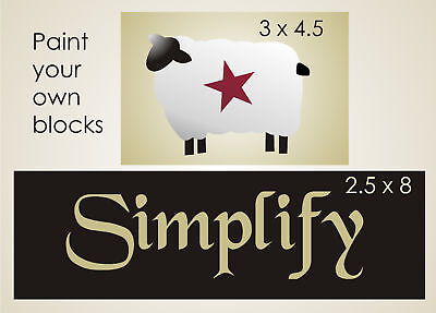 Primitive Country Stencil Simplify Wool Sheep Barn Star Sign Craft Block U Paint