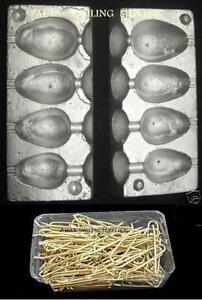 Sea Fishing 4 in 1 Pear Lead Weight Mould & 100 brass Loops