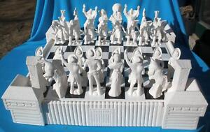 40 pc cowboy indian western chess set ceramic bisque ebay - Ceramic chess sets for sale ...
