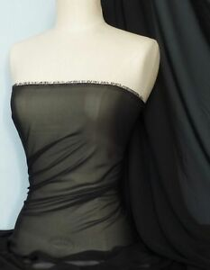 Black-soft-touch-chiffon-sheer-fabric-material-Q354-BK
