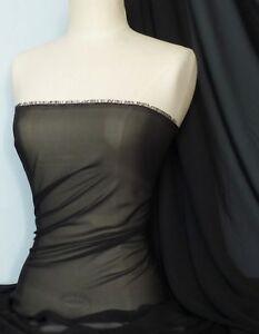 Black-soft-touch-chiffon-sheer-fabric-material-Q354-BK