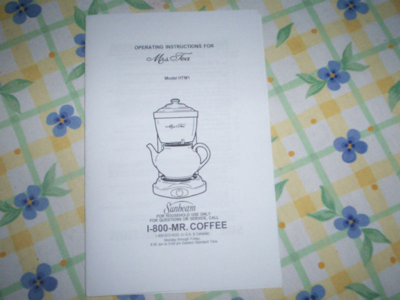 Mrs Tea By Mr Coffee Hot Tea Maker Instruction Manual