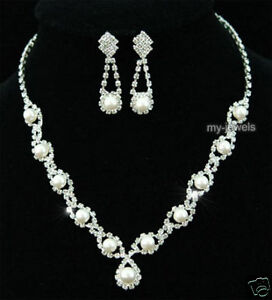 Bridal White Faux Pearl Necklace Earrings Set S1122