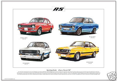 FORD ESCORT RS ( MkI & MkII) - Fine Art Print - RS1800 Mexico RS2000 illustrated