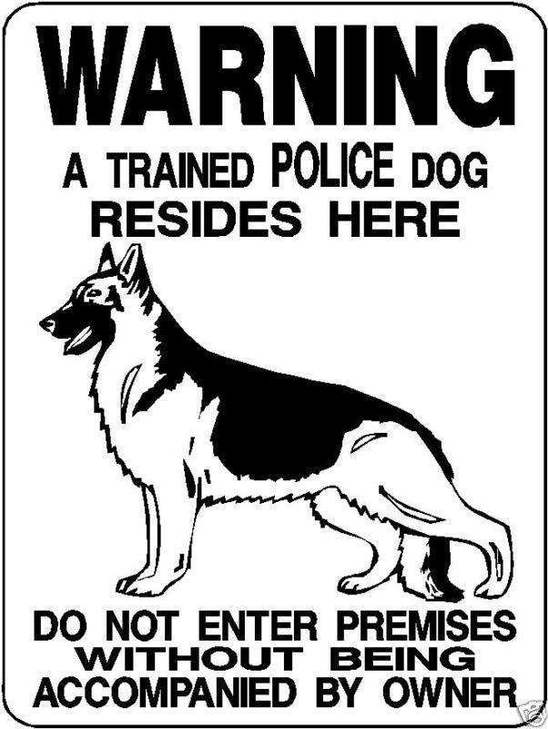 Police K-9 Warning Dog Aluminum Sign 12 X 9 3391