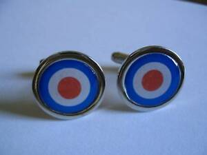 MOD TARGET RED WHITE & BLUE NEW CHROME FINISH CUFFLINKS