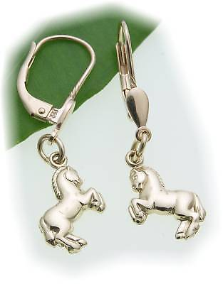 Children Earrings Horse Big 333 Gold Shiny Yellow Gold Quality
