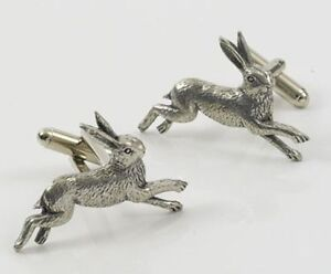 English Pewter HARE  Cufflinks NEW 13136