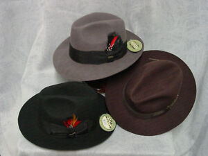 Dorfaman-SCALA-mens-new-FEDORA-2-1-2-brim-BROWN-GRAY-or-BLACK-sz-S-XL