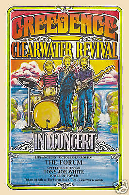John Fogerty & Creedence Clearwater Revival  L.A. Concert Poster 1970