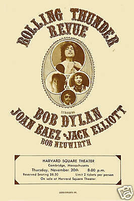 Rolling Thunder Revue   Bob Dylan   Others   Concert Poster 1975