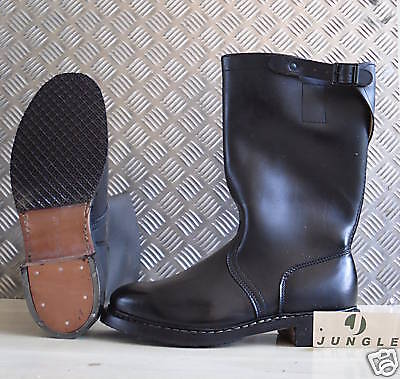 German-Army-Black-Leather-Motorbike-Jack-Riding-Boots-UK-Size-8-NEW