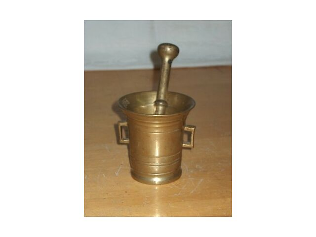 Early Brass Apothecary Mortar & Pestle ~ Old Pharmacy