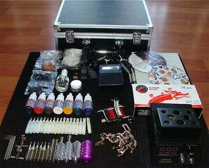 Complete UK tattoo Kit 2Gun Machine/DigitalPower/Tube/Needle/Ink/CASE/On sale