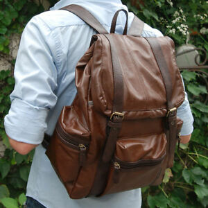 BROWN-Mens-Womens-Boys-Girls-high-quality-faux-LEATHER-school-BAG-new-BACKPACK