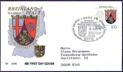 BRD 1993: Rheinland-Pfalz! FDC der Nr. 1664 mit Mainzer Stempel! Gelaufen! 1702