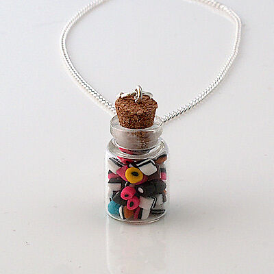 liquorice allsorts sweet jar glass necklace retro yummy