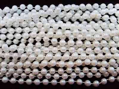 1-Dozen-12-strands-48-Long-8mm-WHITE-FAUX-PEARLS-MARDI-GRAS-NECKLACES-BEADS