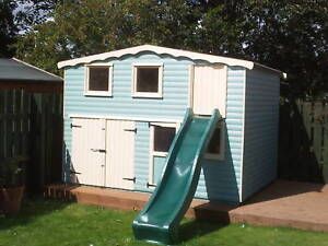 10ftx8ft Double Storey Playhouse With Slide And Garage Ebay