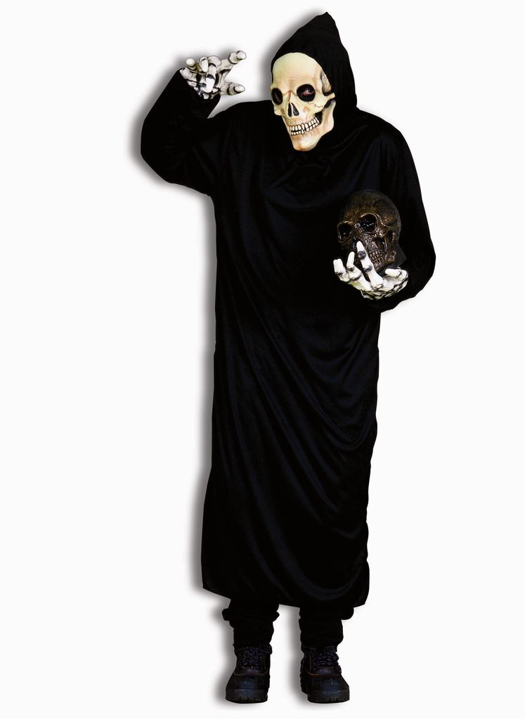 Black Horror Robe Grim Reaper Scream Adult Halloween Costume Size Extra Large
