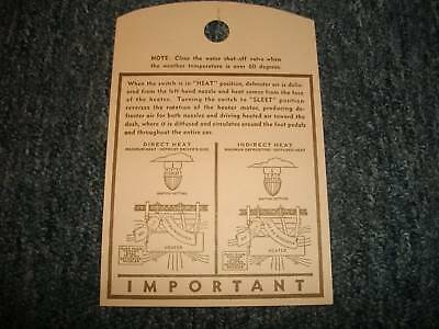 1939 Ford Car Manifold Hot Water Heater Instruction Tag