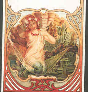 MERMAID RESTS IN HAMMOCK IN GIANT SEA, CLAM SHELL,ART NOUVEAU,REPRO POSTCARD