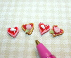Miniature-Heart-Shaped-Cookies-4-Count-for-DOLLHOUSE-1-12-Food