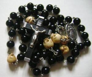 Oxen-Bone-Skull-Black-Agate-Beads-5-DECADE-ROSARY-crucifix-catholic-necklace