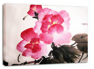 LARGE-PINK-FLORAL-CANVAS-PAINTING-CHINESE-BLOSSOM-A1