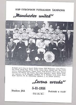 Crvena Zvezda (Red Star) v Manchester United 1958 PROGRAMME - POSTFREE to UK