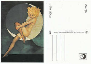 VINTAGE-PIN-UP-ART-POSTCARD-MOON-REPOSE-CARD-CAFE-USA