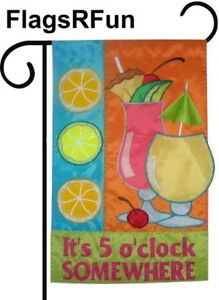 IT'S 5 O'CLOCK SOMEWHERE   Fun Cocktail Party Novelty Gift Idea Garden Flag